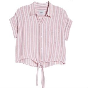 Rails Amelie Tie Front Shirt in Pink